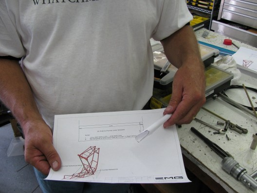 Brian shows how he used patterns to fit steel tubing pieces for fuselage