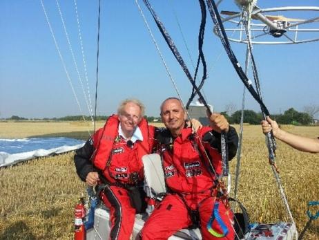 Chabert and Feldzer on aluminum platform of Iris Challenger they shared for 2:33