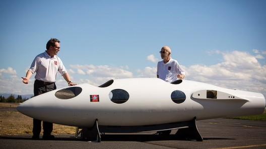 Morgan Sandercock (left), project manager, and Einar Enevoldson show off cockpit mockup for the Times