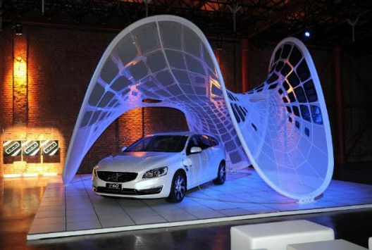 Volvo's Pure Tension Pavilion, a concept that could be the solar airplane's future hangar, solar-charging device