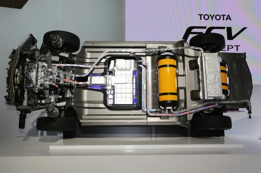 Underside of FCV Concept shows fuel cell stack and orange hydrogen fuel tank