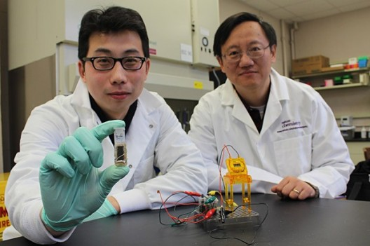 Y. H. Percival Zhang (right) and his associate xxxx show their prototype sweet battery