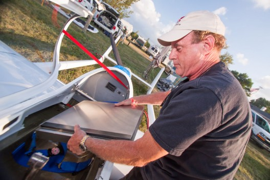 Randall Fishman of ElectaFlyer displays the stainless steel battery container on his ULS ultralight.  A similar MacroLite box could be lighter