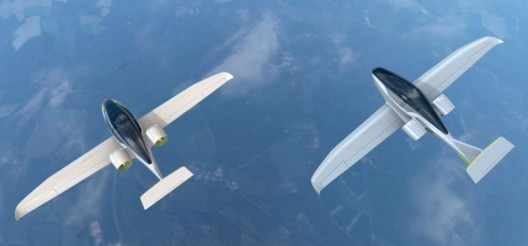 Airbus' VoltAir E-Fan 2.0 (left) and 4.0 fly tight formation in artist's concept