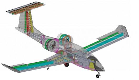 Airbus E-Fan prototype in cutaway form