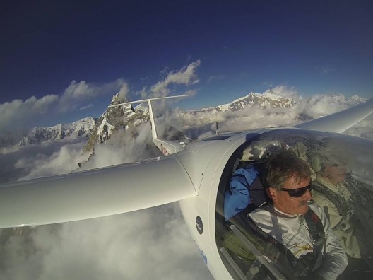 Descending after the successful overflight of Mount Everest