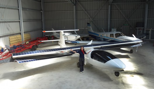 Irena shows Duo in hangar in Pavullo, demonstrating practical nature of the two-seater