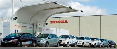 Honda's 2012 European Read Tour demonstrated range of H2-powered cars