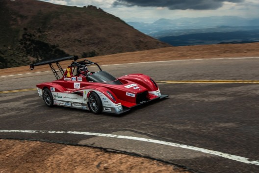 Mitsubishi MiEV in much modified form takes corners on Pikes Peak with speed and grace