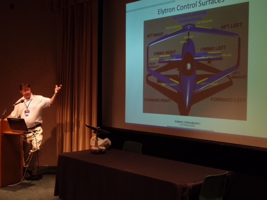 Oliver Garrow shows the multiple lifting surfaces of his VTOL Elytre