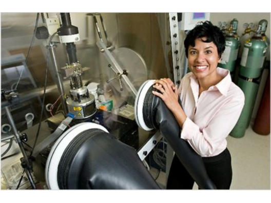 Dr. Ann Marie Sakti with pilot-scale manufacturing equipment