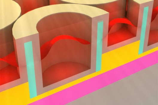 MIT's solar absorber includes nanocavities filled with a dielectric material capturing both light and heat