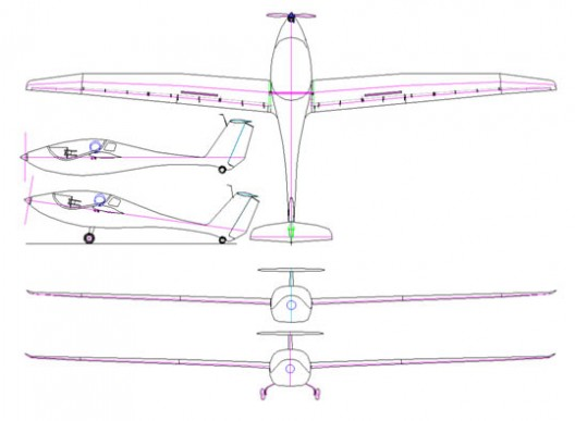 Three-view shows mid-wing configuration of electric Phoenix