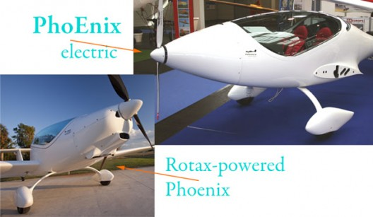 Phoenixes Rotax and electrically powered show earlier low-wing configuration for electric version