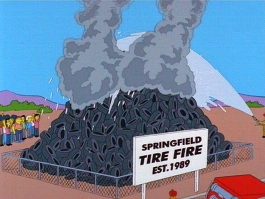Not so funny in real life, the Springfield tire fire has been burning since 1989 on the TV program, The Simpsons