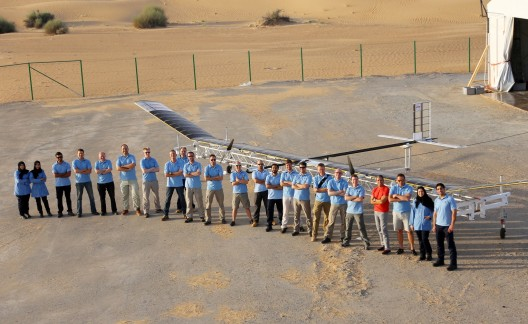 Zephyr team comprises British and Dubai-an members.  Note extremely thin solar film on wing, launch rig under aircraft
