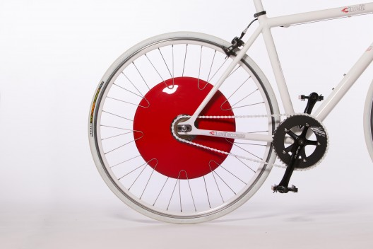 Copenhagen wheel, with motor, controller (complete with regenerative power), and batteries tucked inside