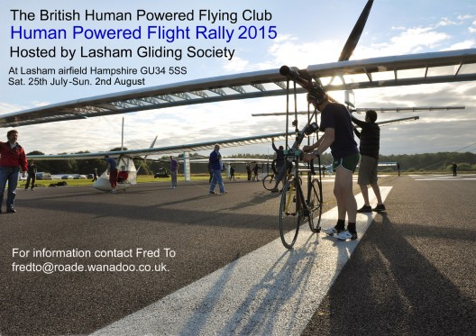 Promotional poster for 2015 Lasham Human-Powered Airplane Rally showing participants in 2014 Rally