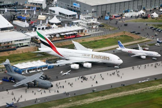 e-Genius, the smallest Airbus, at the ILA Berlin Air Show, surrounded by its larger siblings