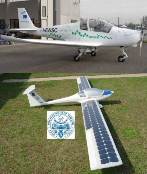 ENFICA by Turin Polytechnic professor Giulio Romeo has flown since 2010, set records.  Model below uses fuel cells, solar power to stay aloft for extended periods