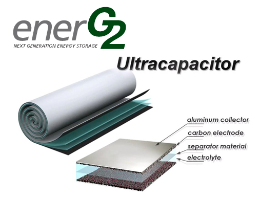Ultracapacitor using EnerG2  carbon layer is conventional otherwise.  Apparently, purity of carbon increase performance