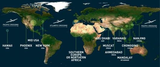 Route follows closely to equator until reaching North America, allowing maximum use of sunlight