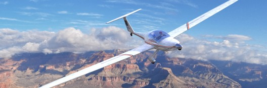 Rendering of modified motorglider quietly cruising above the Grand Canyon