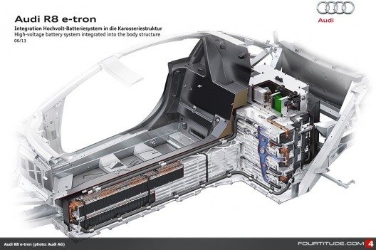 """Audi R8 e-tron's battery has """"T"""" forming wall behind passenger cell"""