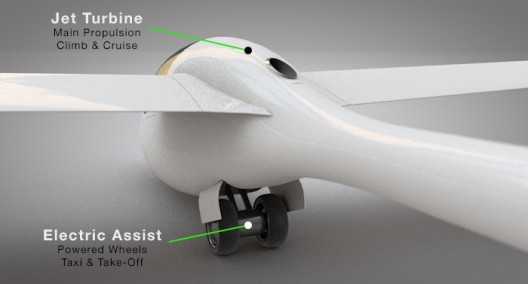 ProAirsport GloW includes jet turbine for climbing, dual electrically-driven wheels for acceleration