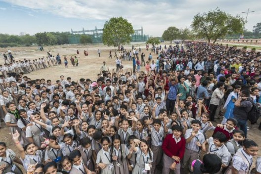 Typical crowd of school children in Ahmedabad show drawing power of giant solar aircraft