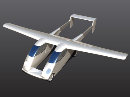 Carplane in flying configuration.  Mechanism to insert wings and extend tail would be wondrous to see in action