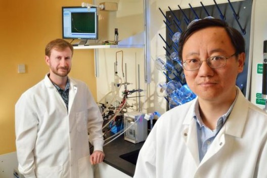 Percival Zhang (right), and his recent doctoral graduate Joe Rollin in their Virginia Tech laboratory