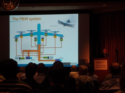Michael Ricci of LaunchPoint Technologies explains Propulsion by Wire (PBW) to EAS IX attendees