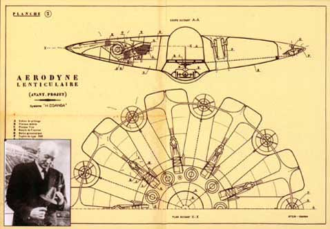 Coanda's postwar patent drawing for some using the Coanda effect and looking suspiciously saucer-like