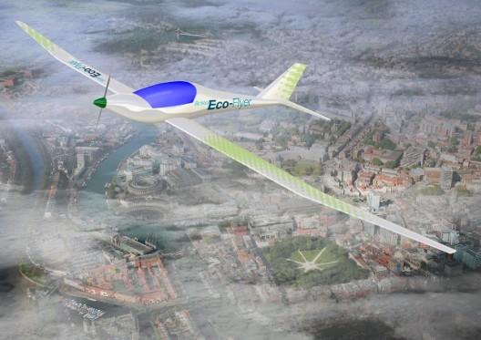 Conceptual illustration of Eco-Flyer soaring over Bristol, England
