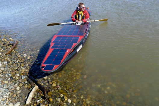 Domjan's solar-powered kayak has batteries, electric motor to assist paddling