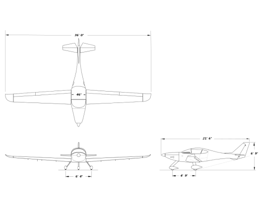 Sunflyer three-view drawing highlights wide cabin, high-aspect ratio wings