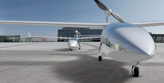 Renderings show a short tricycle landing gear, high wing and even higher propeller
