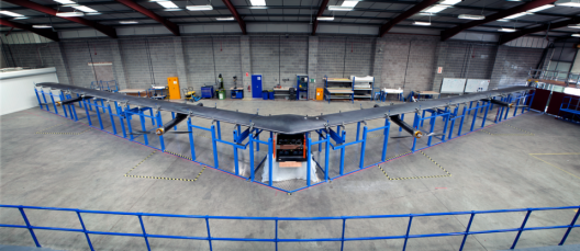 Facebook's Aquila flying wing, 880 pounds spanning over 100 feet, solar cells, batteries and all