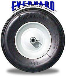 Pugnacious slogan takes pride in wheelbarrow tire's capability to haul 1,000 pounds