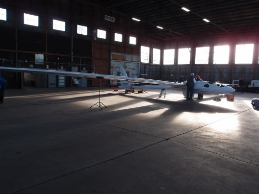 Your editor's first sight of the finished Perlan, fresh from its appearance at Oshkosh and radiant in the morning light
