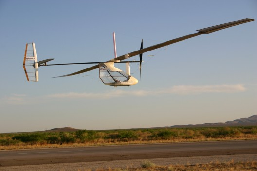 Formerly human powered, the Sunlight Eagle flew with power from solar cells