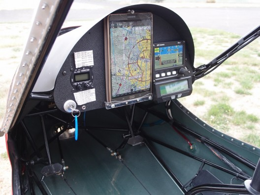 All-glass panel has Samsung tablet with moving map, GRT mini-EFIS, and Cycle-Analyst, a budget package for all the information imparted