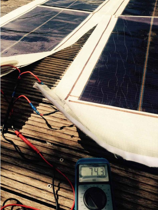 Following 2,500 nautical mile race, solar cells were unzipped from sails, and used on sail covers to recharge boat's batteries