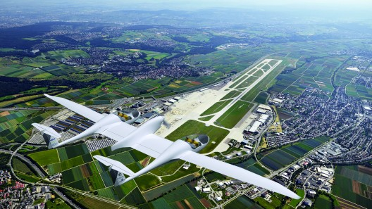 DLR HY4 flying over Stuttgart Airport, soon to be the test site for the airplane