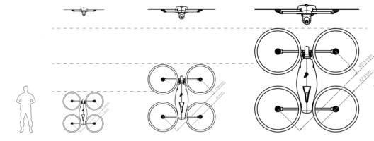 Quaternium 20, 50, and 100 models showing relative sizes