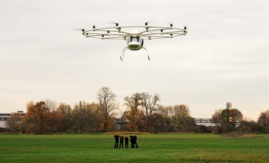 Volocopter remotely piloted (see cable from ground to cockpit) in November 15 test