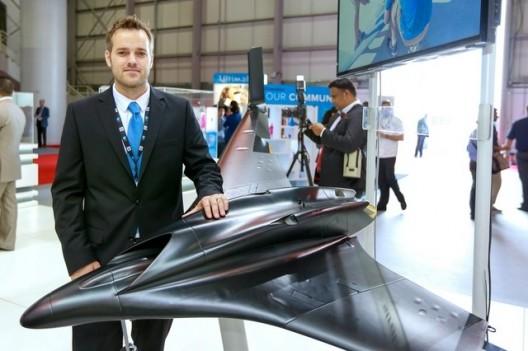 Scott Sevcik with Aurora/Stratasys 3D-printed jet plane at Dubai Air Show