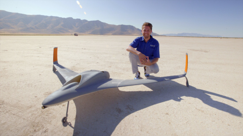 Aurora Dan Campbell with UAV in Utah desert