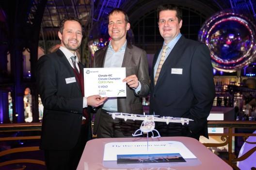 Florian Reuter (CEO, e-volo GmbH), Frans Nauta (Climate-KIC, Netherlands) and Alexander Zosel (Founder & CEO, e-volo GmbH)